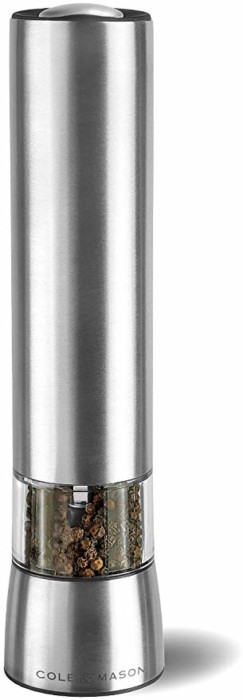 #1. COLE & MASON Hampstead Electric Pepper Grinder with LED Light