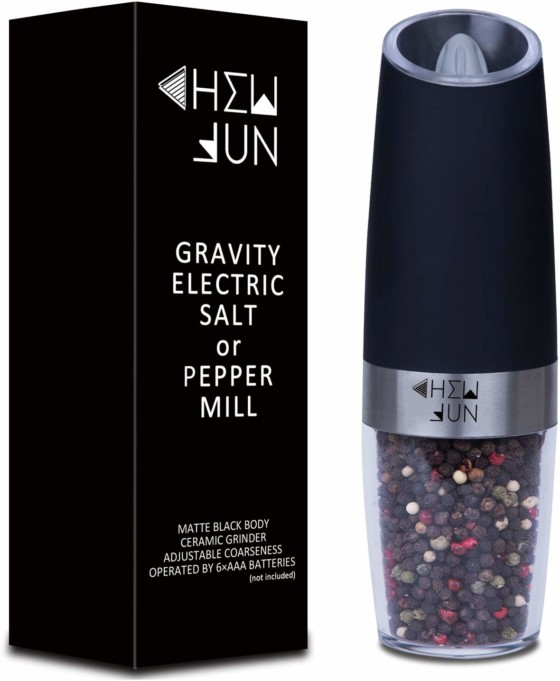 #10. Chew Fun Electric Gravity Pepper Grinder or Salt Mill