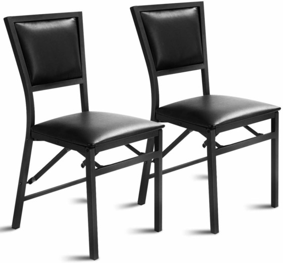 #5. Giantex Set of 2 Metal Folding Chair Dining Chairs