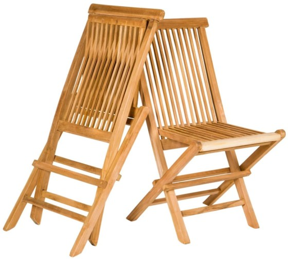 #8. Yankee Trader Set of 2 Traditional Teak Folding Wooden Chairs
