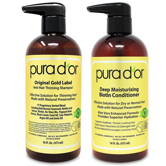 PURA D'OR's Hair Regrowth Anti-Thinning Shampoo & Conditioner Set for Women