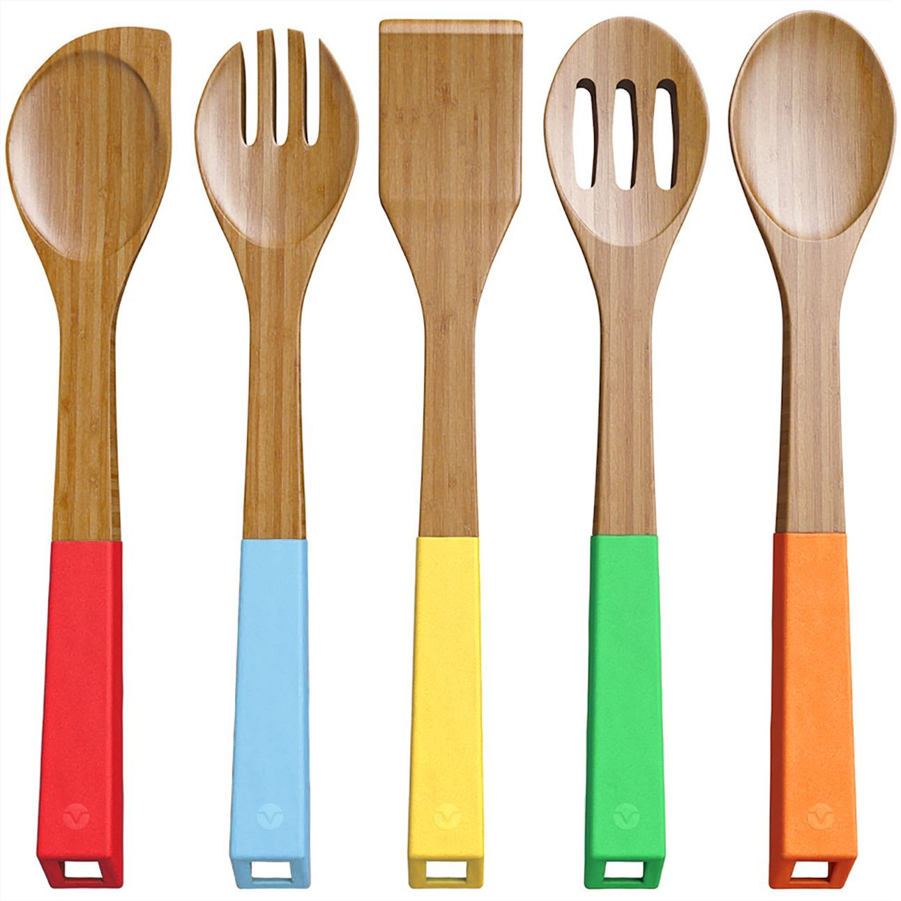 Vremi 5 Piece Bamboo Spoons Cooking Utensils-Best Wooden Spoon Sets