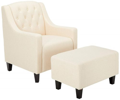 Christopher Knight Home 217723 Empierre Beige Linen Club Chair & Footstool Set