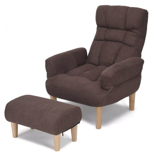 Giantex Lazy Sofa Chair with Footstool Living Room