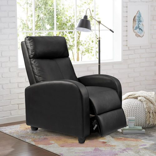 Homall Single Recliner Chair Padded Seat Black PU Leather Living Room Sofa Recliner Modern Recliner Seat Home Theater Seating-Reading Chairs