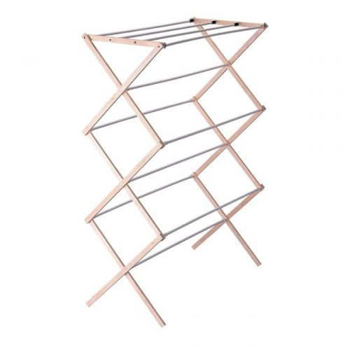 Household Essentials Collapsible Folding Wooden Clothes Drying Rack