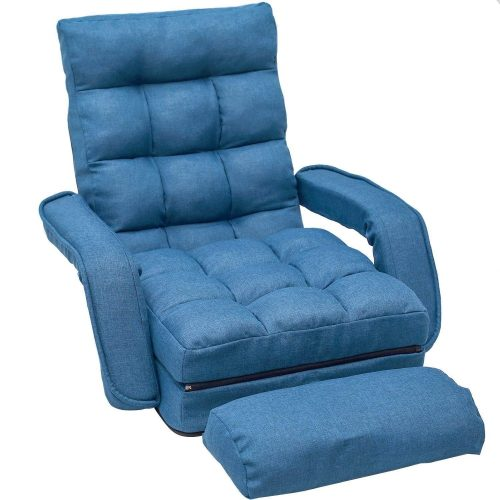 Merax Chaise Lounges Folding Lazy Floor Chair Sofa Lounger Bed with Armrests and a Pillow