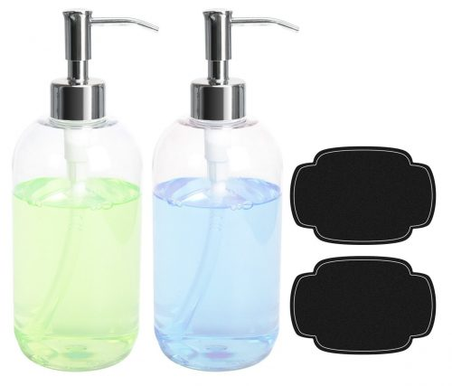 ULG Soap Dispensers Bottles 16oz Countertop Lotion Clear with Stainless Steel Pump Empty BPA Free Liquid Hand Soap Dispenser Kitchen and Bathroom Boston