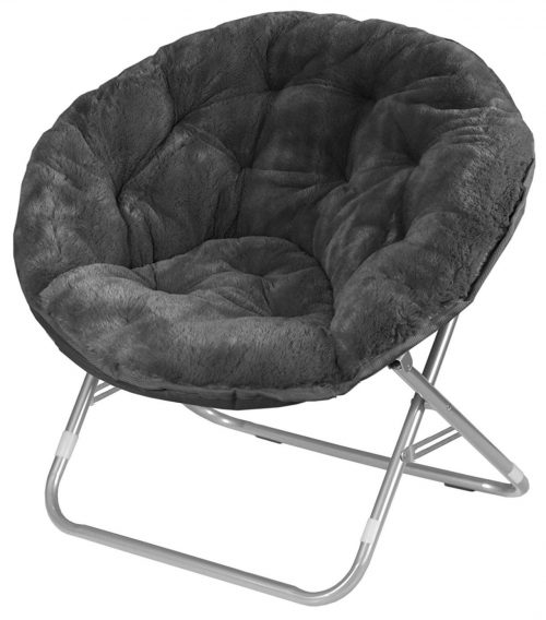 Urban Shop Faux Fur Saucer Chair with Metal Frame, One Size