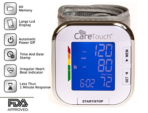 """Care Touch Fully Automatic Wrist Blood Pressure Cuff Monitor - Platinum Series, 5.5"""" - 8.5"""" Cuff Size- Batteries Included"""