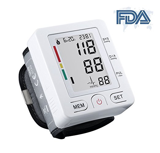 Fam-health Automatic Wrist Blood Pressure Monitor FDA Approved with Portable Case, Two User Modes, Adjustable Wrist Cuff,IHB Indicator and 90 Memory Recall --- White [2020 NEW VERSION] (White)