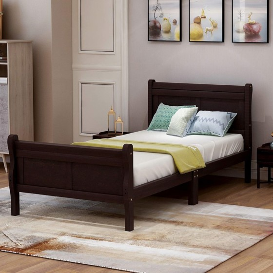 HARPER and BRIGHT Designs Wooden Platform Twin Bed with headboard/footboard