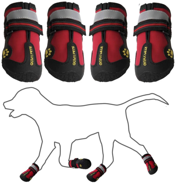 QUMY Non-Slip with Reflective Tape Dog Boots